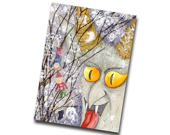 Krampus Tree Card, Krampus Creepy Christmas, Gothic Winter Greetings Card, Yuletide Card