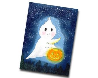 Cute Spooky Ghost Lantern Greetings Card, Halloween Ghost Card with Envolope