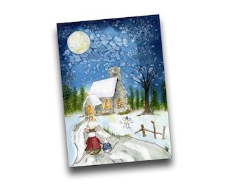 Church Mice Christmas/Winter Greetings Card by Kris Miners
