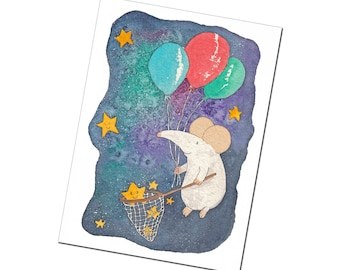Whimsical Galaxy Greetings Card - The Wish Collector