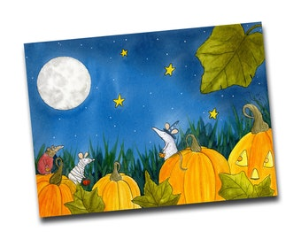 The Pumpkin Patch Gang Halloween Card, Autumnal Greetings Card, Pumpkins, Whimsical Art