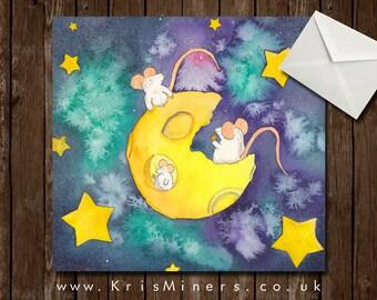Whimsical Cheese Moon Greetings Card - Cheddar Moon