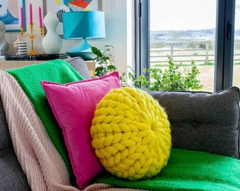 Chunky knit Sophie cushion   Sumptuous Merino wool treats for you and your home