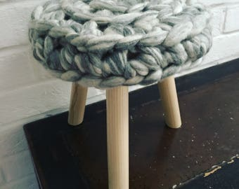 Chunky knit Merino wool and Ash wood Madeleine stool in Silver Streak   Sumptuous treats for your home
