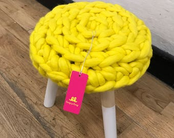 Chunky knit Thumbelina Stool   Sumptuous Merino wool treats for your home