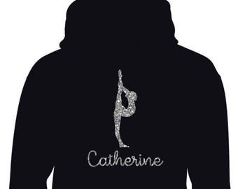D1 Personalised BalletGymnastics Hoodie With Silver Glitter Print