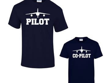 b5920884 Pilot and Co-Pilot , Matching Father Son, Daddy Birthday Gift, Father's Day  Gift, Dad And Son t-shirts, Set Of Two Tshirts