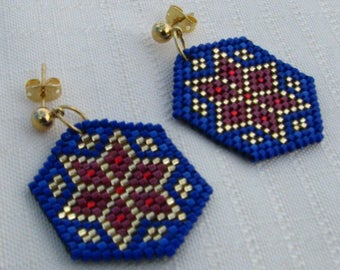 Blue, Gold, Red Flower Earrings