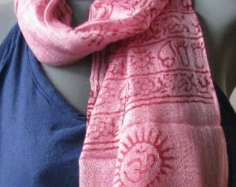 OM Ohm Yoga Prayer Scarf Hand Made Cotton Pink