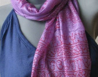 OM Ohm Yoga Prayer Scarf Hand Made Cotton Purple