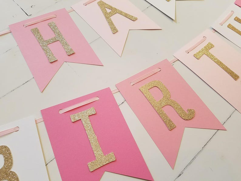 Pink And Gold Happy Birthday Banner 1st Princess