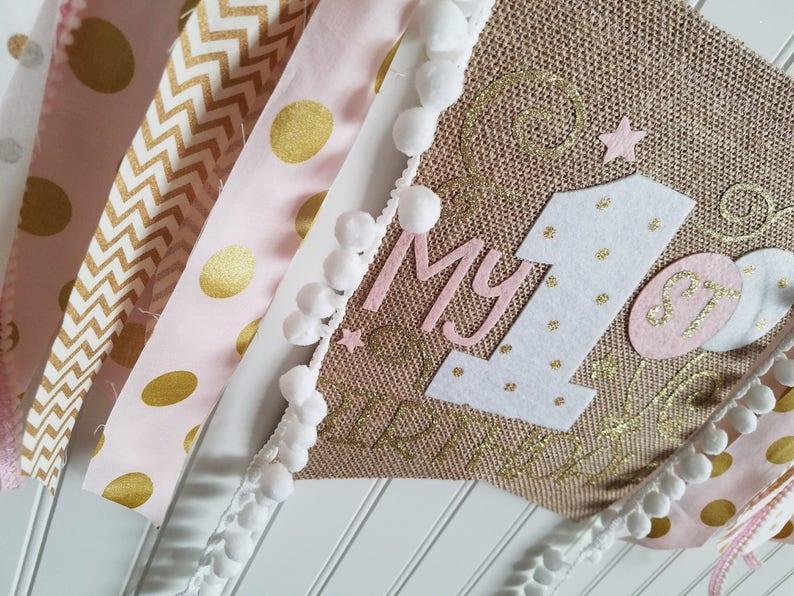 1st Birthday Banner,Fabric High Chair Banner,Champagne gold Burlap High chair High Chair Banner High Chair tutu Pink and Gold High Chair