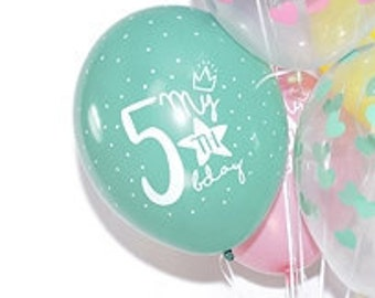 5th Birthday Balloons Party Decorations Pastel Rainbow