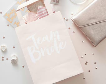 Individual Pink and Rose Gold Team Bride Party Bags, Loot Bags, Bachelorette Party Bags, Hen Party Bags, Rose Gold, Bridal Shower Favours