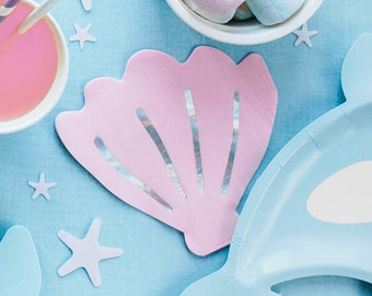 """Under The Sea Theme Party Supplies Favors Pink Nautical Cloth Napkins Reusable Luncheon Towels 13/"""" x 13/"""" Girls Nursery D/écor HOMU Set of 6"""