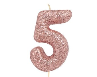 Number 5 Rose Gold Glitter Candle Age Candles Birthday Cake