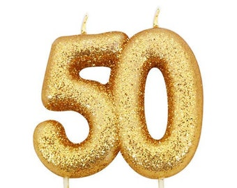 50th Birthday Candle Gold Glitter 50 Age Candles Cake Number