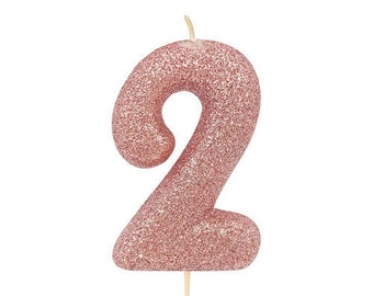 Number 2 Rose Gold Glitter Candle Age Candles Birthday Cake