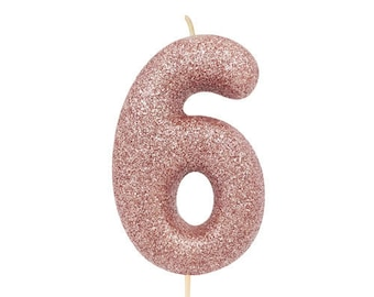 Number 6 Rose Gold Glitter Candle Age Candles Birthday Cake