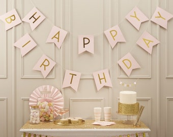 Pink Happy Birthday Bunting Banner Backdrop Decor Pastel Party