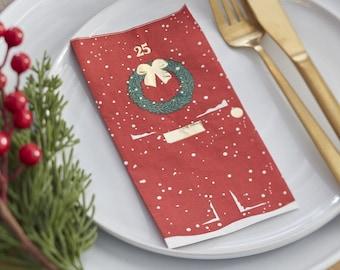 16 Christmas Door Napkins, Festive Napkins, Holiday Napkins, Red Napkins, Traditional Christmas, Christmas Paper Napkin, Christmas Tableware
