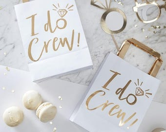 Individual White and Gold I Do Crew Bride Party Bag, Loot Bag, Bachelorette Party Bag, Hen Party Bag, White Gold, Bridal Shower, Team Bride