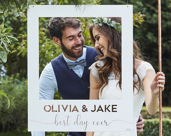 Personalised Wedding Photo Booth Frame, Giant Photo Frame, Wedding Photo Props, Photo Booth Backdrop, Selfie Frame, Rose Gold Frame