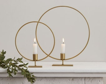 2 Gold Candle Holder Hoops, Christmas Candle Holders, Christmas Decorations, Christmas Centrepiece, Table Centrepiece, Gold Candle Holder