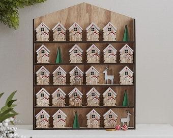 Reusable Wooden House Advent Calendar, Fill your own Advent Calendar, DIY Advent Calendar, Empty Advent Calendar, Advent Calendar Box Kit