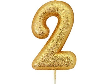 Number 2 Gold Glitter Candle Age Candles Birthday Cake