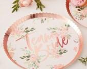 8 White Floral Rose Gold Foiled Team Bride Plates, Floral Hen Party, Party Plates, Bachelorette Plates, Hen Party Plates, Rose Gold Plates