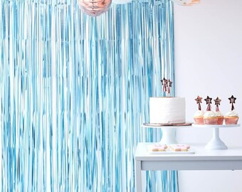 Blue Fringe Curtain Party Supplies Birthday Backdrop Photo Prop Hen Decor Baby Shower