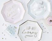 Pastel Party Plates 8pk, Hip Hip Hooray, Paper Plates, Party Tablewear, Celebration Plates, Baby Shower, Graduation