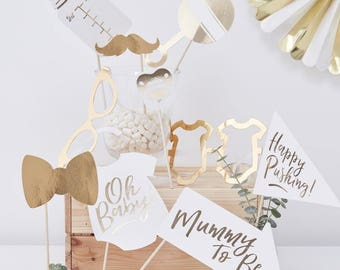 White Gold Baby Shower Props Photo Booth Decorations Oh Mummy To Be