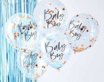 5 Rose Gold Blue Confetti Baby Boy Balloons Shower Decorations Its A
