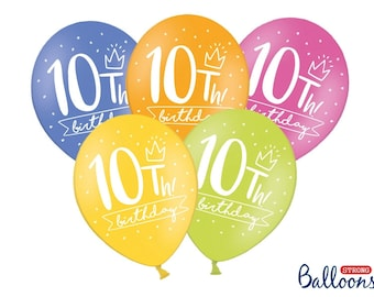 10th Birthday Balloons Party Decorations Bright Rainbow