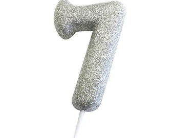 Number 7 Silver Glitter Candle Age Candles Birthday Cake