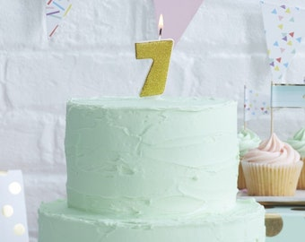 Number 7 Gold Glitter Candle Age Candles Birthday Cake 7th