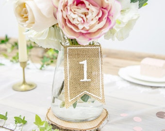 Wedding Reception Table Numbers Decoration Gift Tag Burlap Flags Table Sign