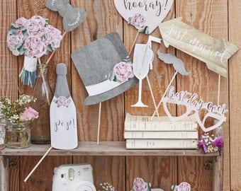 Rustic Wedding Photo Props Booth Selfie Table DIY