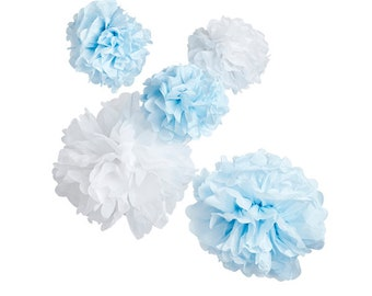 db6dbd909 5 Blue and White Pom Poms, New Baby Party, Paper Pom Poms, Gender Reveal, Paper  Pom Poms, Baby Shower, Bridal Shower, Party Decor