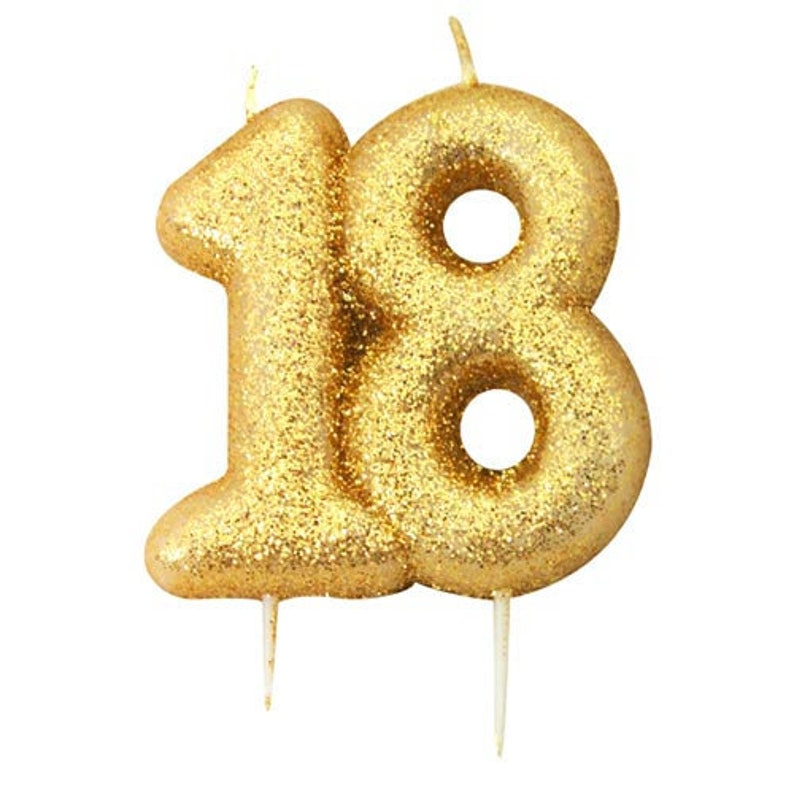 18th Birthday Candle Gold Glitter 18 Age