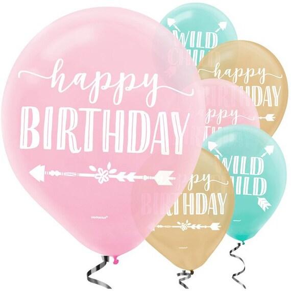 6 Boho Birthday Balloons Happy Balloon