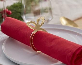 6 Gold Holly Napkin Ring, Christmas Napkins Ring, Festive Napkin Holder, Holiday Napkin Ring, Rustic Napkin Ring, Holiday Napkin Holder