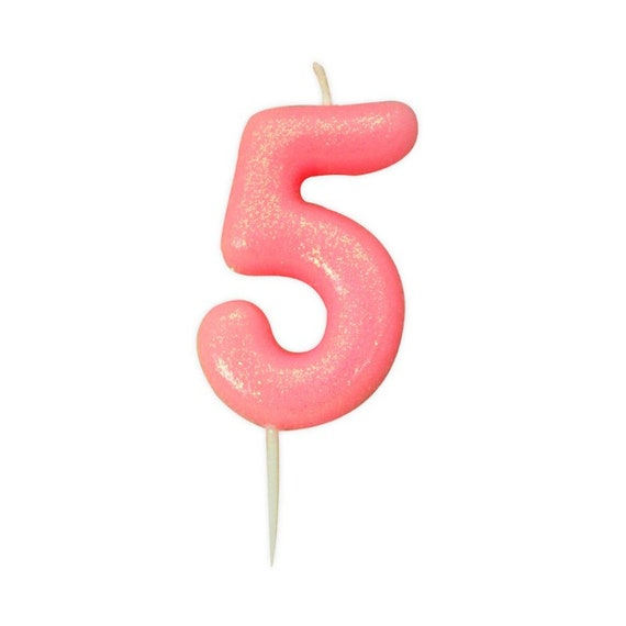 Number 5 Pink Glitter Candle Age Candles