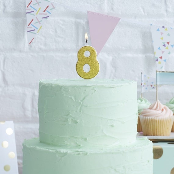 Number 8 Gold Glitter Candle Age Candles Birthday Cake