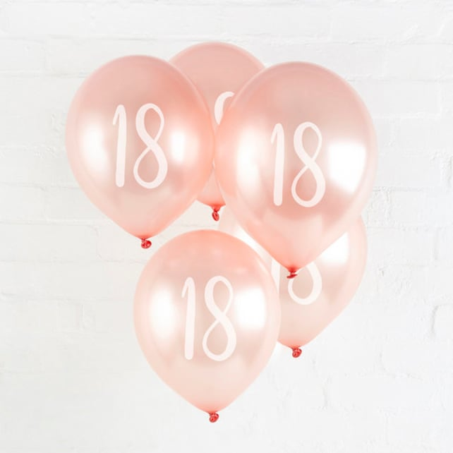 5 Rose Gold 18th Birthday Balloons Decor Party Supplies