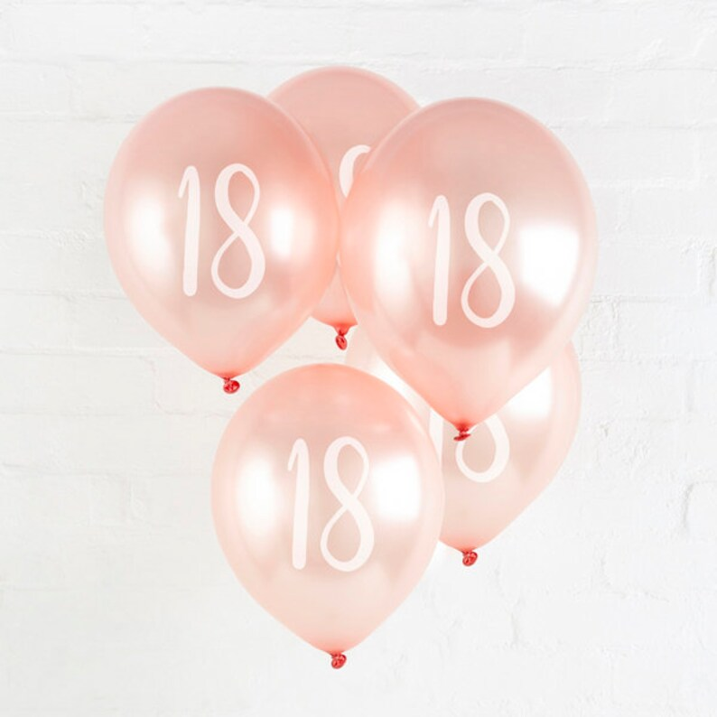 5 Rose Gold 18th Birthday Balloons