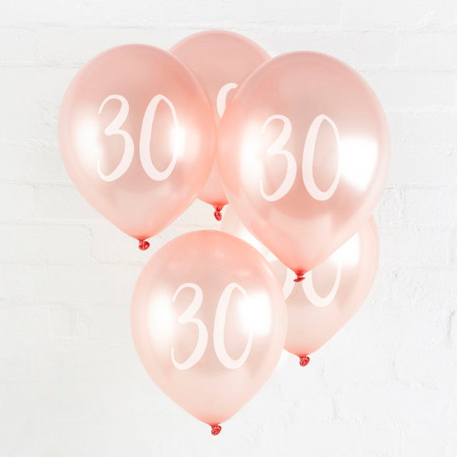 5 Rose Gold 30th Birthday Balloons Decor Party Supplies