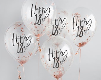 Happy 18th Birthday Balloons, Rose Gold Confetti Balloons, 18th Birthday Balloons, 18th Birthday Decor, 18th Party Supplies, Rose Gold Decor
